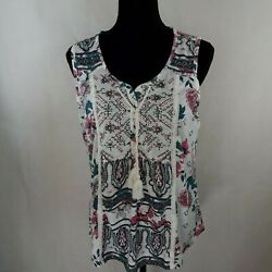Style & Co. Womens Printed Tassels Tie Neck Tank Top Shell Plus 2X WS-604