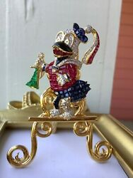 VINTAGE 18K DONALD DUCK BROOCH Diamond Ruby Sapphire Emerald Invisible Set