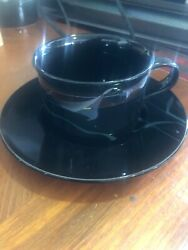 Mikasa Galleria Opus Black Calla Lilly 6 Sets Cups And Saucers, Fk701, Japan