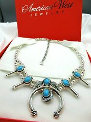 Carolyn Pollack American West Qvc Southwest Turquoise Squash Blossom Necklace
