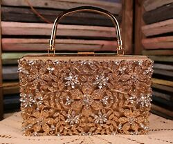 Champagne Gold Evening Bag Floral Glitter Fabric Glam Bag $44.99