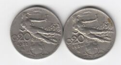 1920 And 1921 Italy- Italia 20 Cent Coins 1920/21 R Circulated Coins  5175