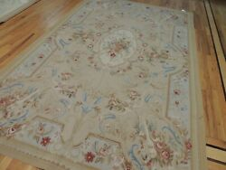 6x9 French Aubusson Area Rug Beige Blue Rust Floral Musical Instruments
