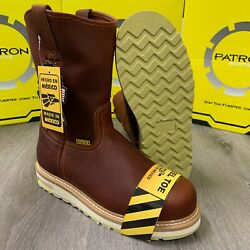 MEN'S STEEL TOE WORK BOOTS PULL ON SAFETY GENUINE LEATHER OIL RESISTANT #109 BRO $69.99