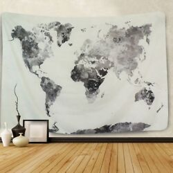 USA Grey World Map Print Tapestry Hippie Wall Hanging Home Decor Wall Tapestries