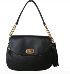 Michael Kors Black Leather Medium Bedford Tassel Cross Bag $69.99