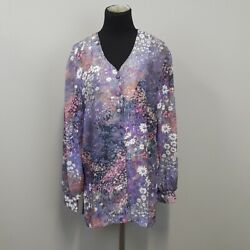 Lady Carol Purple And Pink Floral Long Sleeve Button Up Tunic Plus Size 14