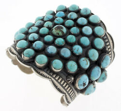 Natural Persian Turquoise Bracelet By Navajo Artist Andy Cadman