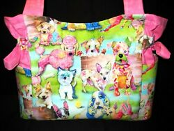 Colorful Pups Handmade PurseToteHandbag $32.99