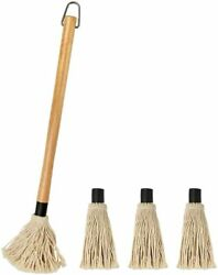Yfwood 18 Inch Grill Basting Mop Wooden Long Handle With 3 Extra Heads For Bbq