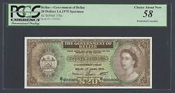 Belize 20 Dollars 1-6-1975 P37bs Specimen Perforated About Uncirculated