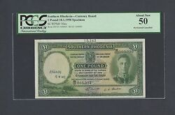 Southern Rhodesia One Pound 10-1-1950 P10es Specimen About Uncirculated