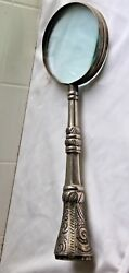 Vintage Large Magnifying Glass With Ornate Silverplated Handle