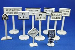 Lionel - Railroad And Road Signs - 10 Signs - White Color - Good Condition