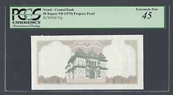 Nepal 50 Rupees Nd1974 P25p Progressive Proof Extremely Fine