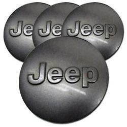 Charcoal Center Caps With Jeep Logo For 2007-2017 Jeep Wrangler 2.5 [set Of 4]