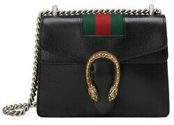 Gucci Dionysus Mini Black Textured Leather Gold Silver Shoulder Crossbody Bag