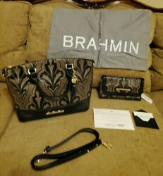 RARE Brahmin MIRAGE Duxbury satchel with matching Wallet and Dust cover--NEW