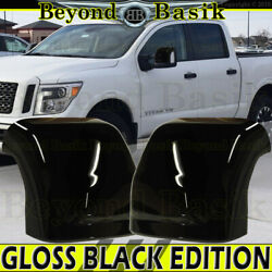 For 2016-2021 Nissan Titan Mirror Covers Towing W/turn Signal Hole Gloss Black