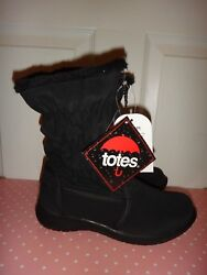 TOTES Women#x27;s Black Thermolite WATERPROOF Zip Winter BOOTS Faux Fur US Size 6 $29.99
