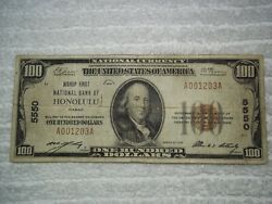 1929 100 Honolulu Hawaii Hi National Currency T1 5550 Bishop 1st Natl Bank