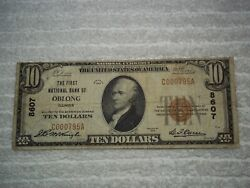 1929 10 Oblong Illinois Il National Currency T1 8607 1st National B Oblong