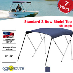 Oceansouth Bimini Top 3 Bow Boat Cover Blue 67-72 Wide 6ft Long W/ Rear Poles