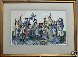 Antique Chinese China Qing Dynasty Watercolor Painting Pith Album 1850