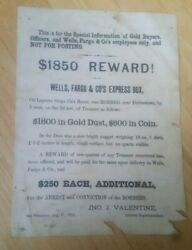 1875 Authentic Reward Wanted Poster Wells Fargo Stage Coach Robbery Gold And Coins