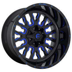 4-fuel 1pc Stroke Gloss Black Blue Tinted Clear 20x10 Ford F250 Rims 8x170 -18