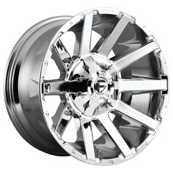 4 Wheels Fuel 1pc Contra Chrome Plated 22x10 Chevy|gm Hd Rims 8x180 -18