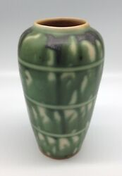Matte Green Drip Glaze Ringed Striped Arts And Crafts Art Pottery Vase Merrimac