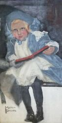 Sweet Blue Girl Painting On Canvass By Noted American Artist Marion Powers