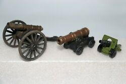 Vintage Cast Iron And Brass, Matchbox, Toy Cannon Lot