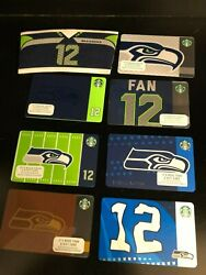 Lot Of All 7 Starbucks Seattle Seahawks Gift Cards New + 12 Cup Holder New