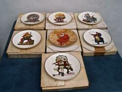 Lot Of 7 Vintage Gorham Norman Rockwell Christmas Plates 1977 - 1984