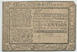 Fr Va-94 May 6 1776 Virginia Colonial Note 10s Ten Shillings Two Crowns Current