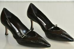 New Manolo Blahnik Bb Heels Pumps Mary Jane Pony Brown Patent Leather Shoes 37
