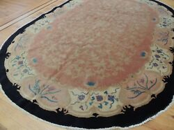 Antique 6x9 Art Deco Chinese Oval Oriental Area Rug Gorgeous Coral Rose Black