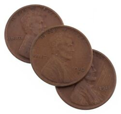 Lot Of 3 Lincoln Wheat Cents 1910, 1911, 1914 San Francisco Vg+ To Vf