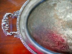 Waiters Tray Large Baroque Style Oval Serving Silver Plate Tarnished Farmhouse
