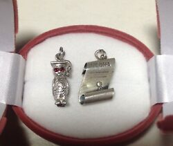 Vintage Beau Sterling Silver Diploma And Wise Owl Bracelet Charms-graduation