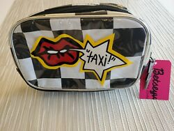 Betsey Johnson Large Cosmetic Black White Taxi Checkered Travel Bag BV20010P $26.40
