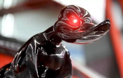 Black Death Proof Duck Hood Ornament With Red Led Eyes