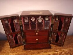 Superb Collectible Early 19th C Mahogany Apothecary Cabinet And Contents C.1825
