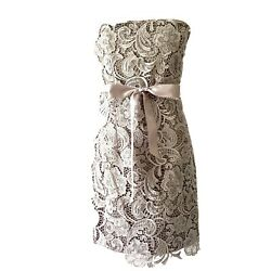 Adrianna Papell Evening Women#x27;s Dress Strapless Lace Gray Formal Cocktail 14 $48.00