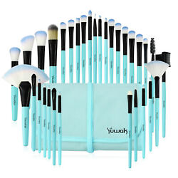 32Pcs Pro Makeup Brushes Set Cosmetic Powder Foundation Brush Blue Brush amp; Case $7.99