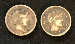 Lot Of 2 10c Barber Dimes 1905 And 1906