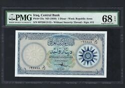Iraq One Dinar Nd1959 P53a Uncirculated Graded 68 Coin