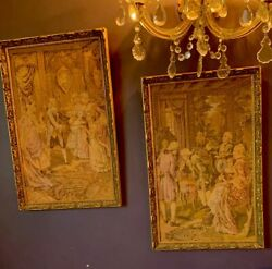 """Antique French Tapestries Parlor Scenes13""""x21"""" Custom Framing"""